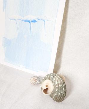 beach umbrella print, seashore collection, bright and colourful, caitlin hope art