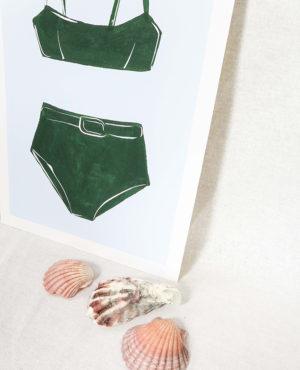 forest bikini print, seashore collection, bright and colourful, caitlin hope art