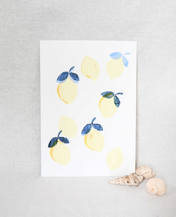 lemonade print, seashore collection, bright and colourful, caitlin hope art