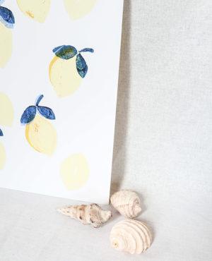 lemonade print, seashore collection, bright and colourful, caitlin hope art