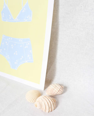 sky bikini print, seashore collection, bright and colourful, caitlin hope art
