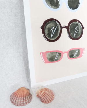 sunnies print, seashore collection, bright and colourful, caitlin hope art