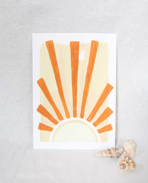 the rising sun print, seashore collection, bright and colourful, caitlin hope art
