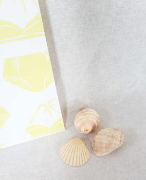 sunshine bikini print, seashore collection, bright and colourful, caitlin hope art