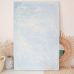 monsters deliciosa canvas painting, abstract artwork of plant, blue tones by caitlin hope