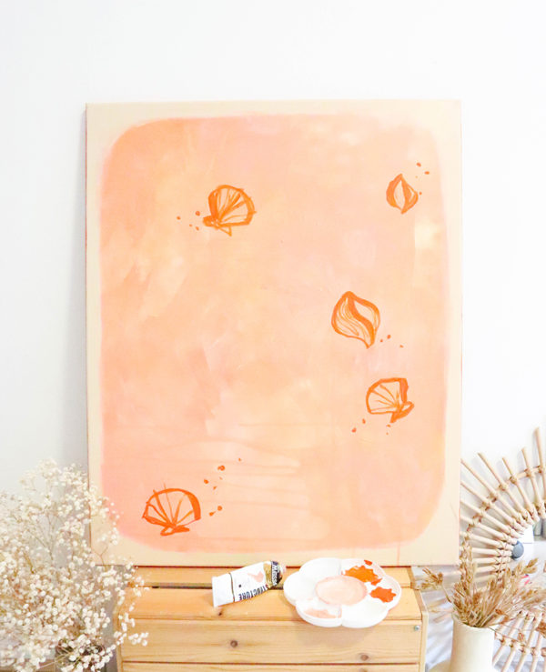 Ochre shell collection canvas painting, abstract artwork, earthy tones by caitlin hope
