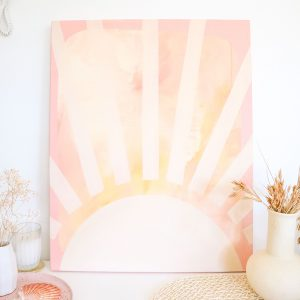 sunbeams canvas painting, abstract artwork, earthy tones by caitlin hope