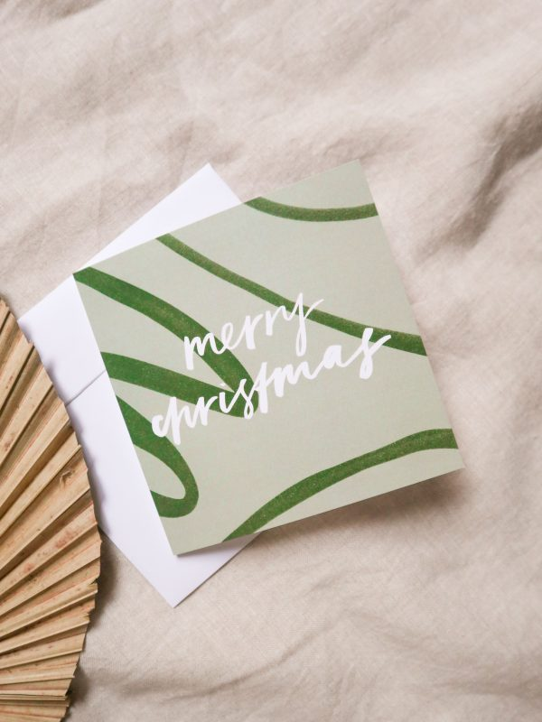 Merry Christmas card, red greeting green, typography, hand lettering