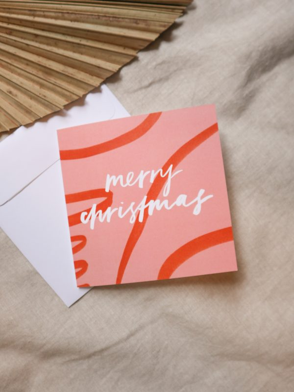 Merry Christmas card, red greeting card, typography, hand lettering