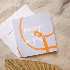 Merry and bright, Merry Christmas card, red greeting card, typography, hand lettering