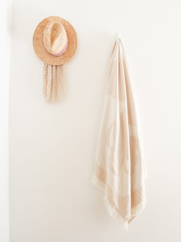 the mediterranean turkish towel with terracotta vessels and vases and sea shells