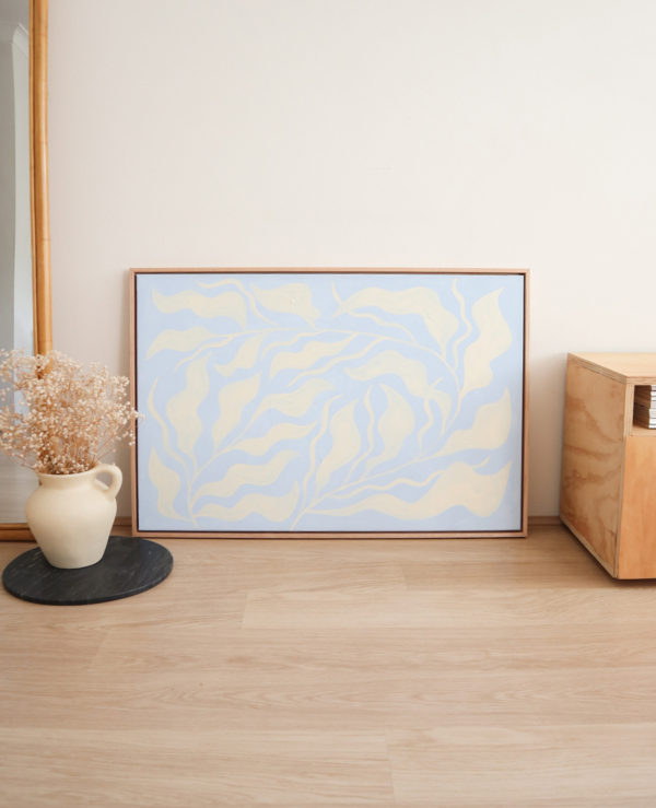 ocean plant acrylic artwork in canvas abstract seaweed framed