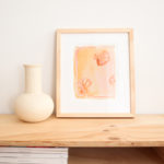 """8"""" x 10"""" scallop shell abstract painting on paper with framing available"""