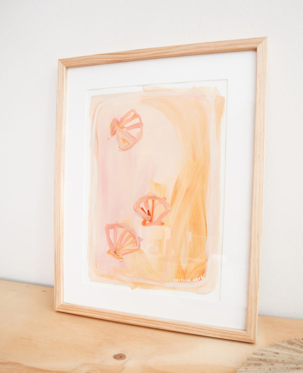 A3 scallop shell abstract painting on paper with framing available