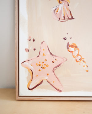 shelly shore acrylic painting on canvas framed in tasmanian oak abstract artwork of sea shells and starfish
