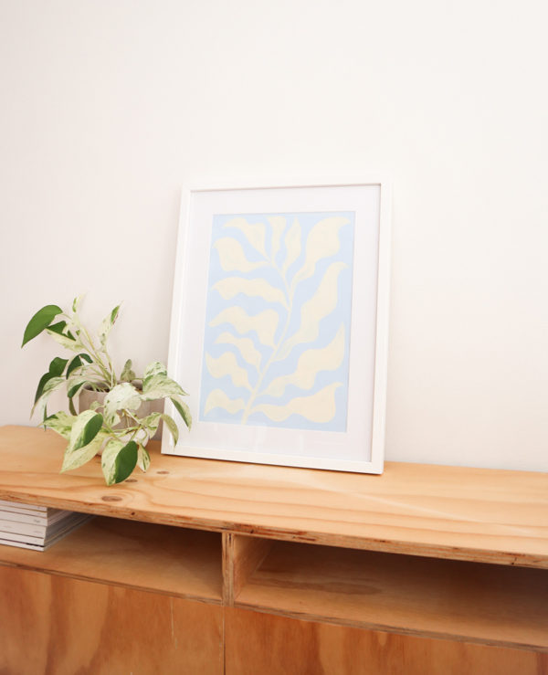 ocean plant acrylic artwork on paper abstract seaweed
