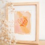 """5"""" x 7"""" scallop shell abstract painting on paper with framing available"""